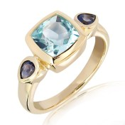 Blue Topaz and Iolites Gold Ring