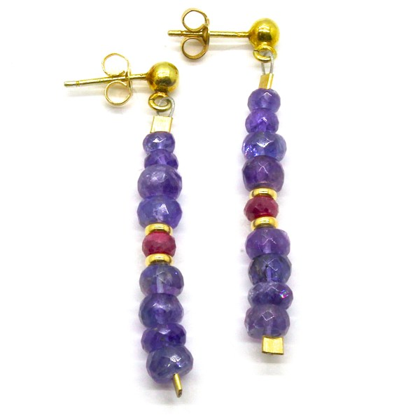 Tanzanite and Rubies Gold Earrings