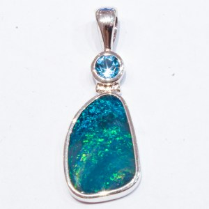 Blue Green Opal with Blue Topaz Pendant