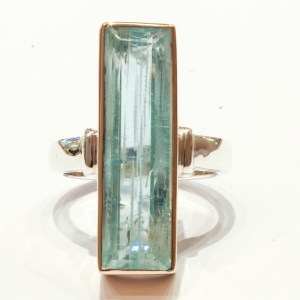 Aquamarine in Gold and Silver Ring