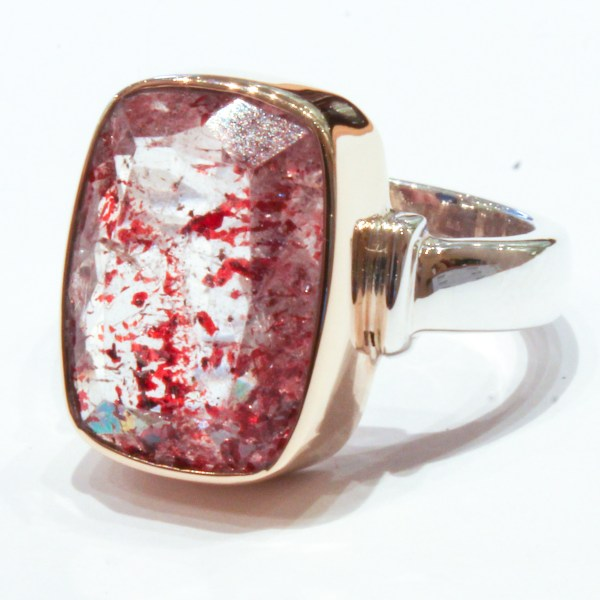 Red Hematite in Clear Quartz Handmade Ring