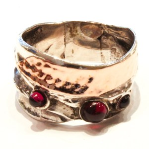 Rose Gold and Silver Ring with Garnets