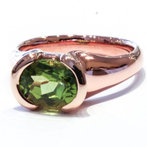 Peridot in Handmade Rose Gold Ring