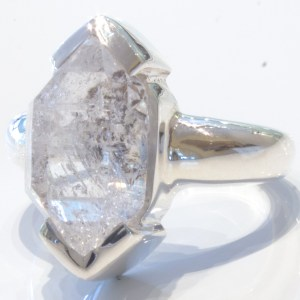 Herkimer Diamond in Handmade Silver Ring
