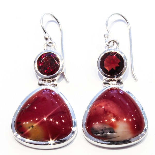 Garnets and Mookaite Handmade Silver Earrings