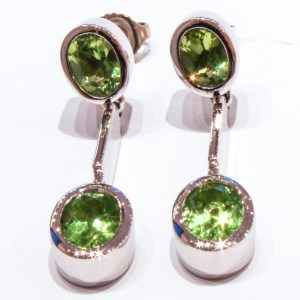 Double Peridot Earrings Handmade in White Gold