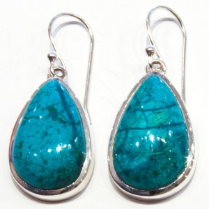 Handmade Silver Earrings with Chrysocolla