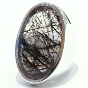 Tourmalinated Quartz in Handmade Silver Ring