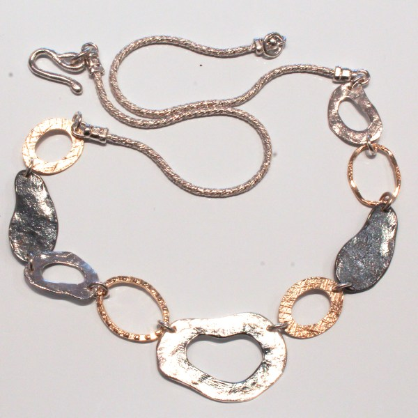Contemporary and Funky Silver and Gold Necklace