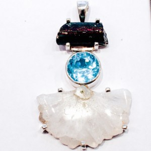 Sun Quartz, Blue Topaz and Roman Glass