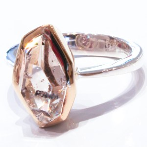 Herkimer Diamond in Gold and Silver Ring