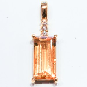 Citrine and Diamonds Handmade Gold Pendant