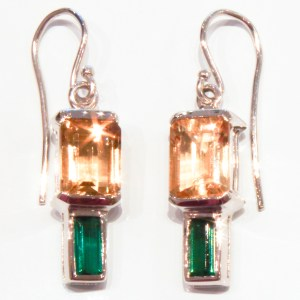 Citrines and Green Tourmalines in Handmade White Gold Earrings