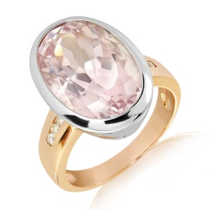 Kunzite & Diamonds in Rose and White Gold Ring