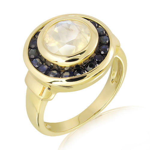Rainbow Moonstone and Sapphires Ring
