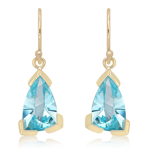 Laser Faceted Blue Topaz Earrings in Gold