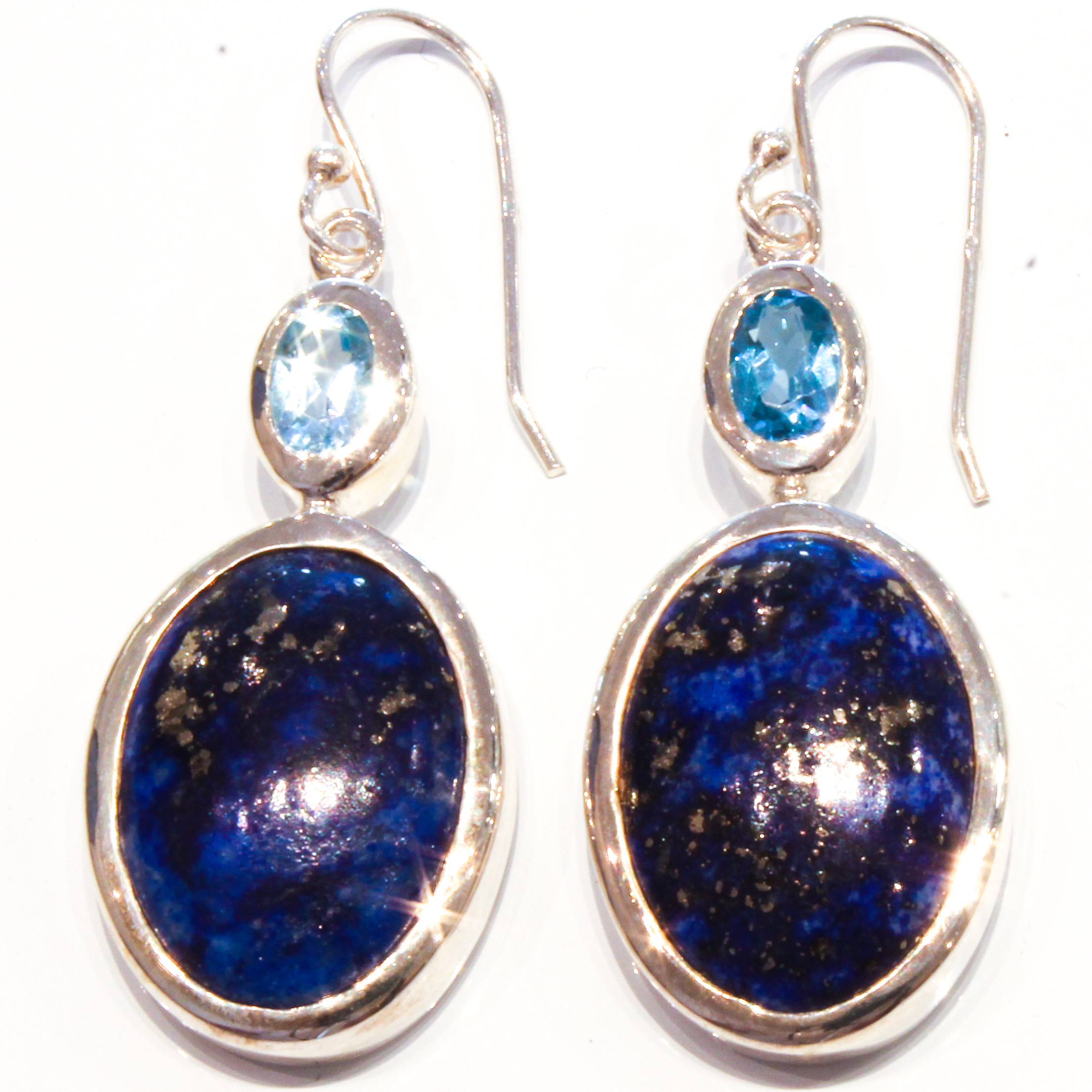 hoop products grande earrings with spiral lazuli argentium product lapis dangle wire of silver images