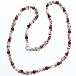 Gold, Silver and Garnets Necklace