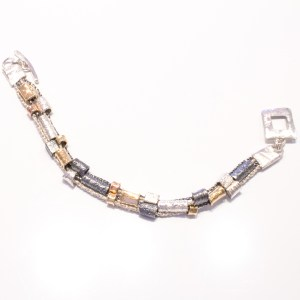Yellow, Rose Gold and Silver Handmade Bracelet