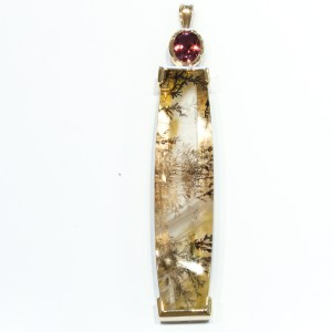 Dendritic Quartz & Tourmaline Handmade Pendant in Yellow Gold
