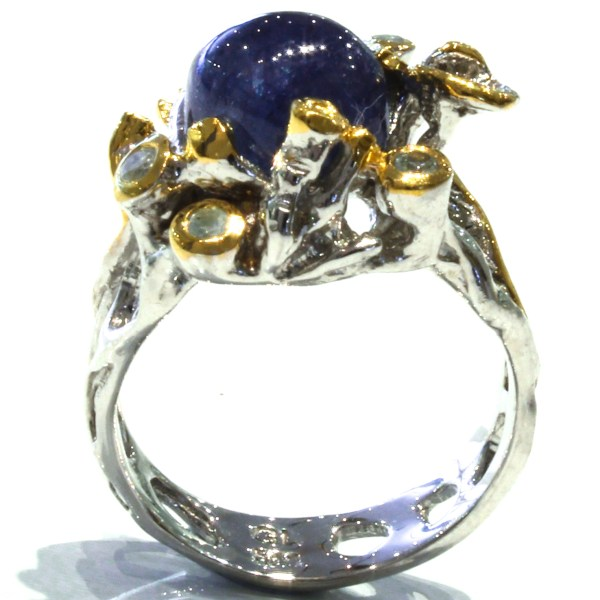 Blue Sapphire and B Topaz Unique Ring