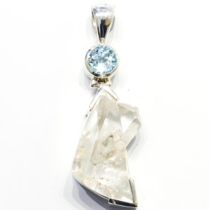 Manifestation Quartz and Blue Topaz Pendant