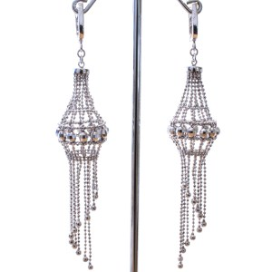 Unique Mesh Silver Earrings