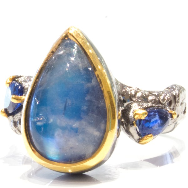 Spectrolite and Sapphires Contemporary Ring