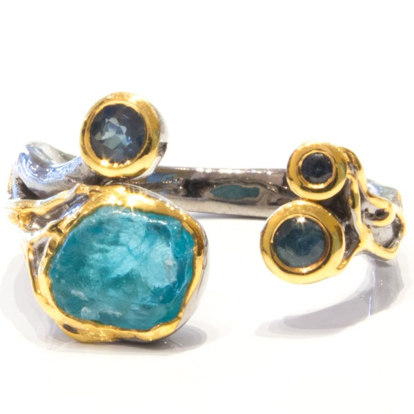 Rough Apatite and Sapphires Ring