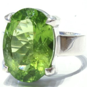 Large Peridot Ring Handmade in Silver