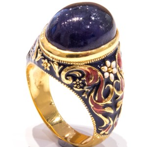 Blue Sapphire in Enamel and Gold Ring
