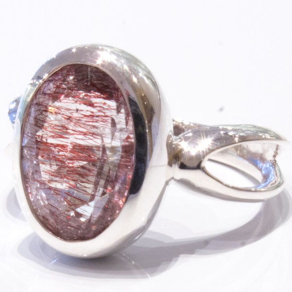 Red Hematite in Quartz Handmade Ring