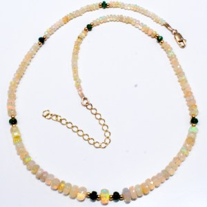 Solid Opals and Emeralds Handmade Necklace