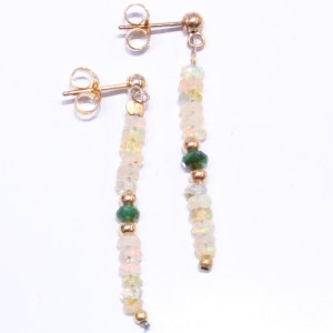 Opals and Emeralds Beads Gold Earrings