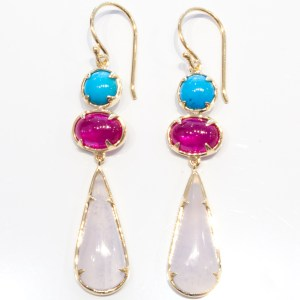 Turquoise, Ruby and Chalcedony Handmade Earrings