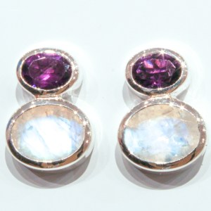 Rainbow Moonstone and Amethyst Handmade Studs