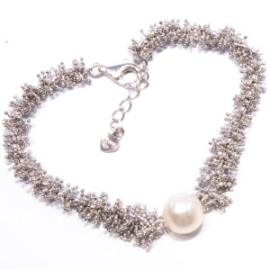 terling Silver Bracelet with Cultured Pearl