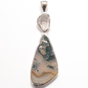 Herkimer Diamond And Moss Agate Pendant