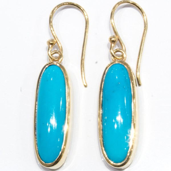 Arizona Turquoise Handmade Gold Earrings
