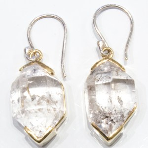 Herkimer Diamond Handmade Gold Earrings