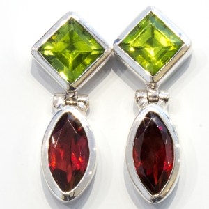 Peridots and Garnets Handmade Silver Earrings
