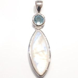 Blue Moonstone and Blue Topaz Handmade Pendant