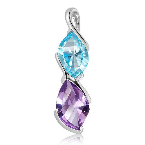 Blue Topaz and Amethyst Silver Pendant