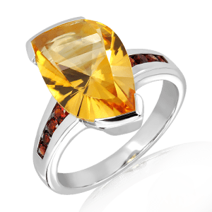 Special Faceted Citrine and Garnets Ring
