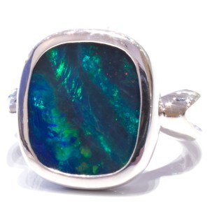 Blue Green Australian Opal Silver Ring