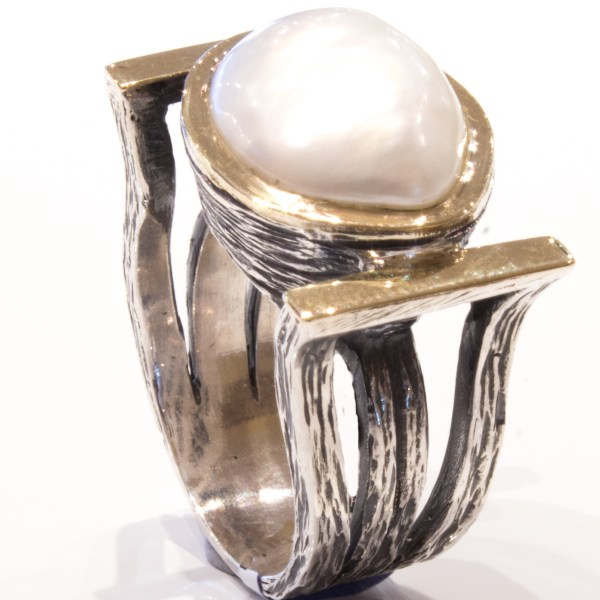 Baroque Sea Pearl Gold & Silver Ring