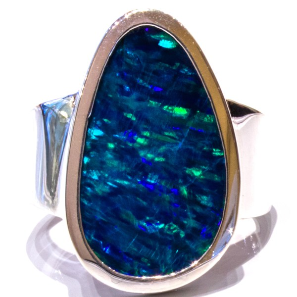 Contemporary Australian Opal Silver Ring