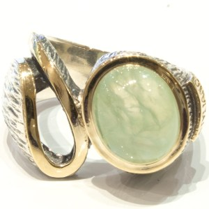 Prehnite Handmade Gold and Silver Ring