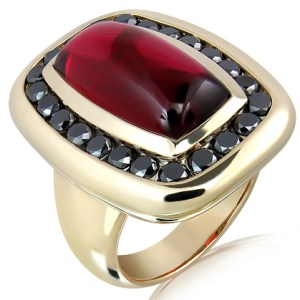 Rubellite And Black Diamond Handmade Ring