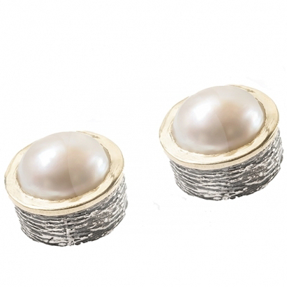 Handmade Studs with Pearls in Gold and Silver